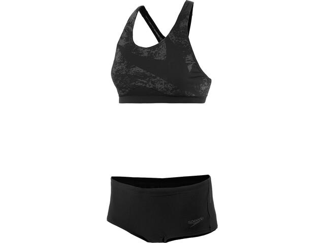 speedo Boomstar Placement Bikini de 2 Piezas Mujer, black/oxid grey